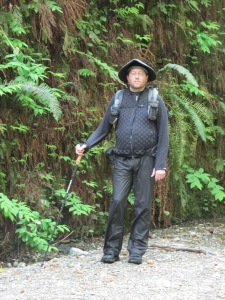 Author wearing the Klymit 2013 Double Diamond at Fern Canyon in Prairie Creek Redwoods State Park, California USA