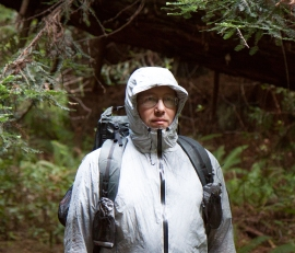 Author and hiker, John Abela, wearing a Waterproof Breathable rain jacket made by ZPacks