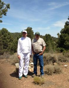 Author (along with his father) wearing the Sun Precautions Ultra Athlete Shirt and Pants on the PCT near Big Bear California.