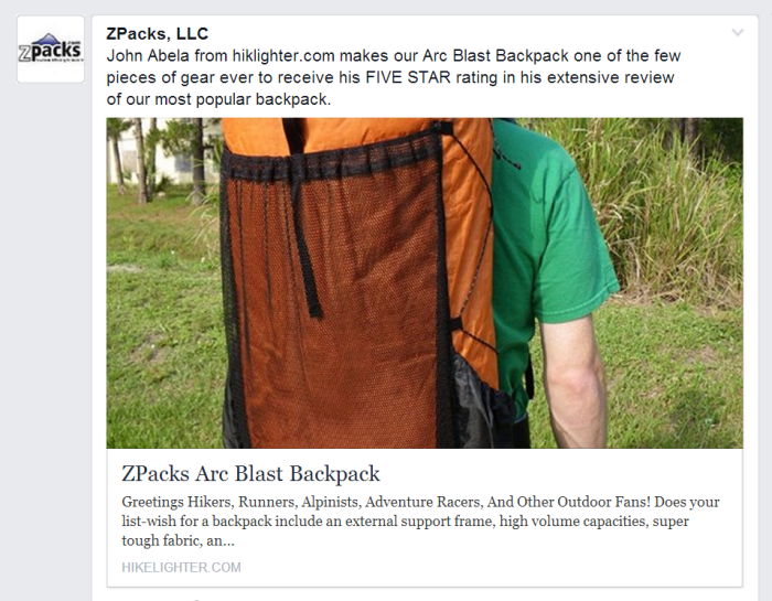 On October 8, 2013, ZPacks gave this article some love via their Facebook page - Thanks ZPacks!