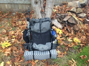 A ZPacks Arc Blast fully loaded for the winter hiking season.