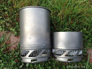 The original Jetboil Sol Ti cup next to the resized 400ml size.