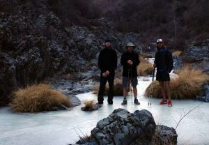 "On a hike with Scott ""Shroomer"" Williams and Joshua ""Bobcat"" Stacy, wearing the Dynamo pants while hiking up a frozen river."