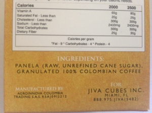 Ingredients: Panela, Granulated 100% Columbian Coffee