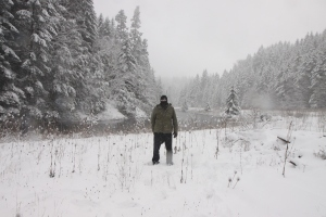 While not visible, on this crazy cold day of hiking in the snow along a river, I had on both the Icebreaker Tech and the asdf.