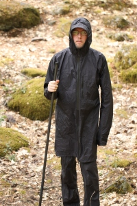 ZPacks Carbon Fiber Staff & wearing the ZPacks Challenger Rain Jacket