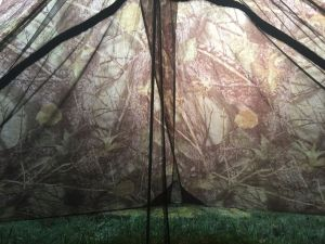 A view of the inside of the camo version of the ZPacks Duplex. This was taken early in the morning as the sun was just rising.