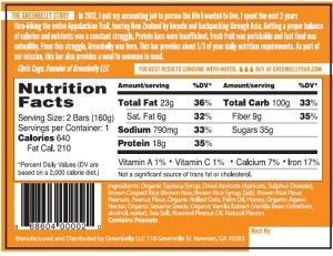 Greenbelly Meal Bar - Peanut Apricot (nutritional)