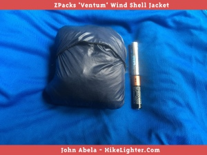The ZPacks 'Ventum' Wind Shell Jacket packs down to about the size of two AAA batteries!