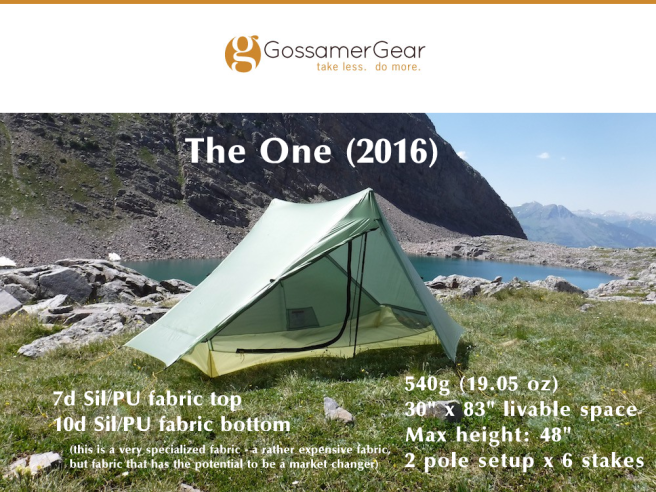 Gossamer Gear, The One (2016)