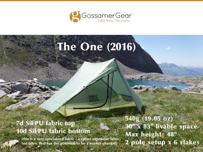 Gossamer Gear, The One (2016)