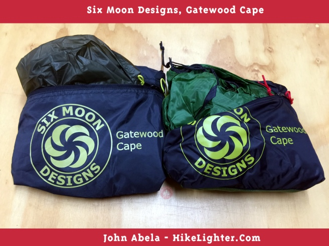 Six Moon Designs, Gatewood Cape, 2018, Previous vs New Color, Forest Green, 001